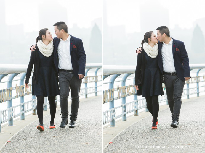 Romantic fog yaletown Vancouver engagement photo by False Creek