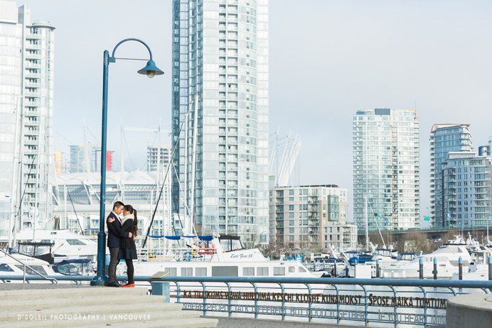 Yaletown engagement photo at False Creek Vancouver