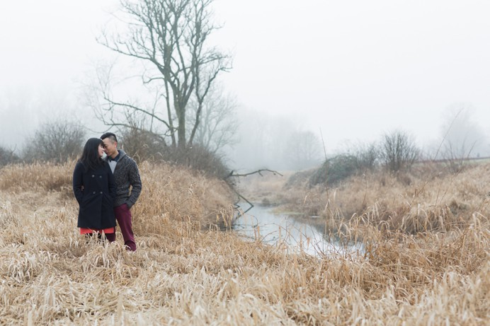rustic foggy field with couple