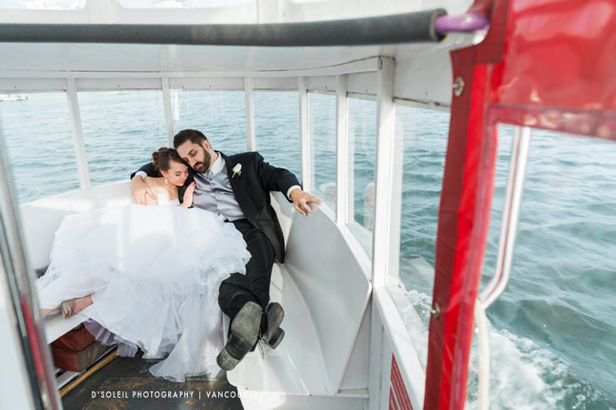 False Creek Yacht Club wedding on ferry