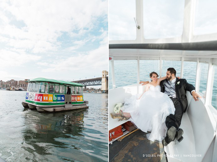 Granville Island Aqua Bus wedding photo