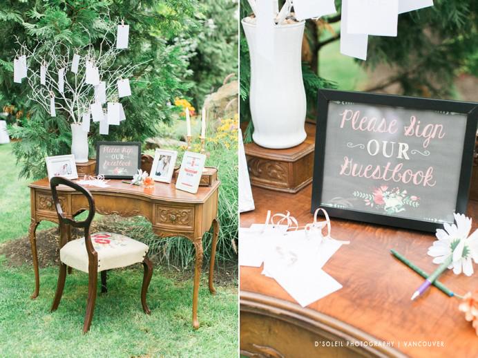 wedding welcome table DIY vintage rustic