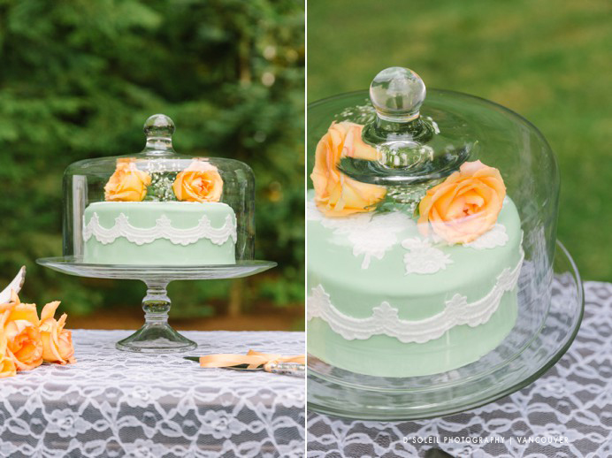 wedding cake in teal and orange