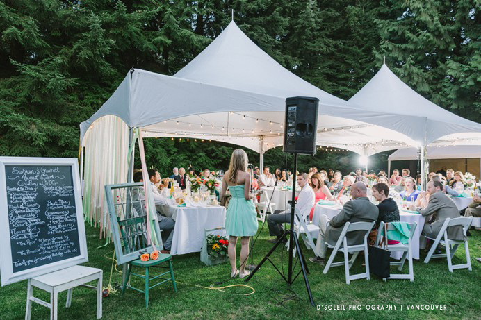 Large tent for outdoor backyard wedding