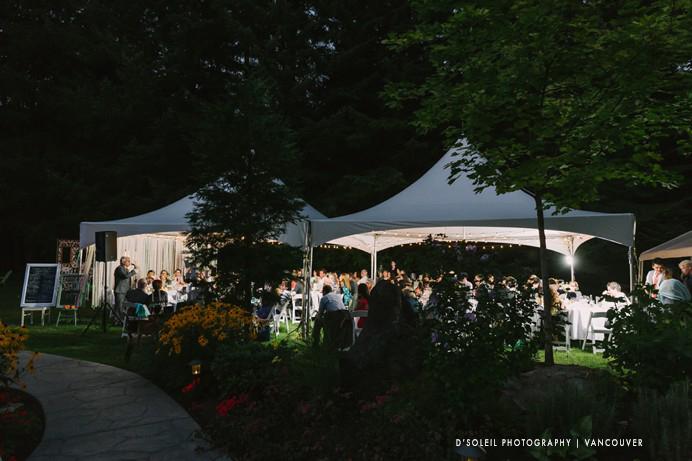 Backyard wedding tent at night