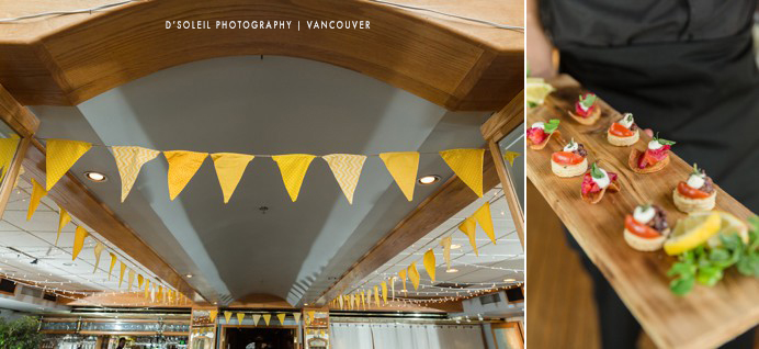 decor at False Creek Yacht Club wedding