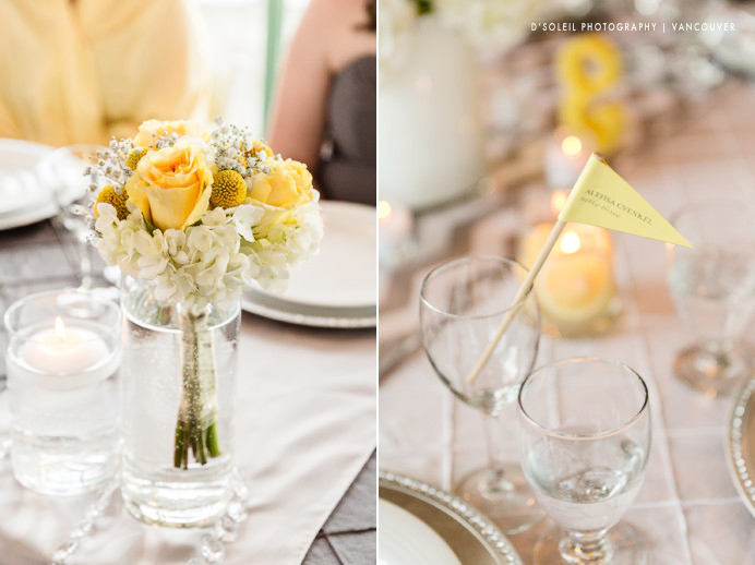 Yellow themed nautical wedding decor