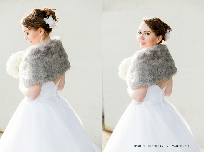 bride wearing faux fur to keep warm