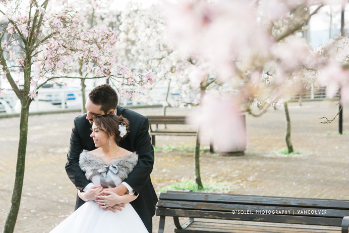 Vancouver cherry blossom wedding photos at false creek