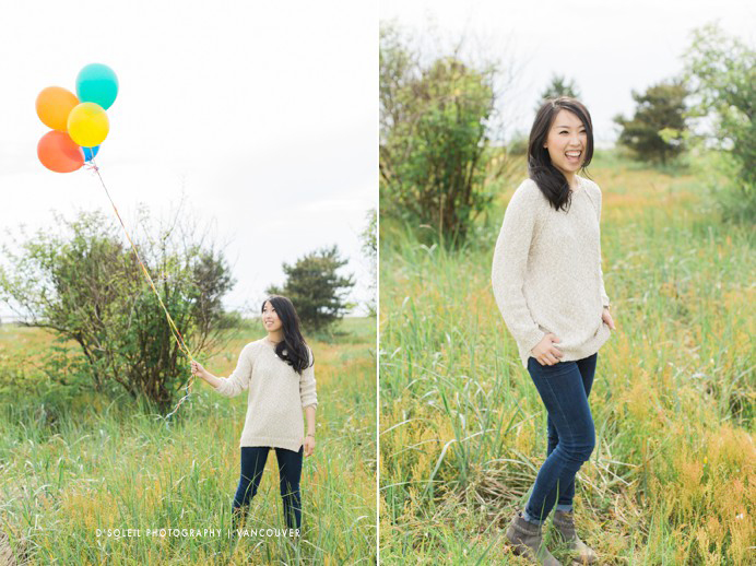 balloon with bride at engagement session