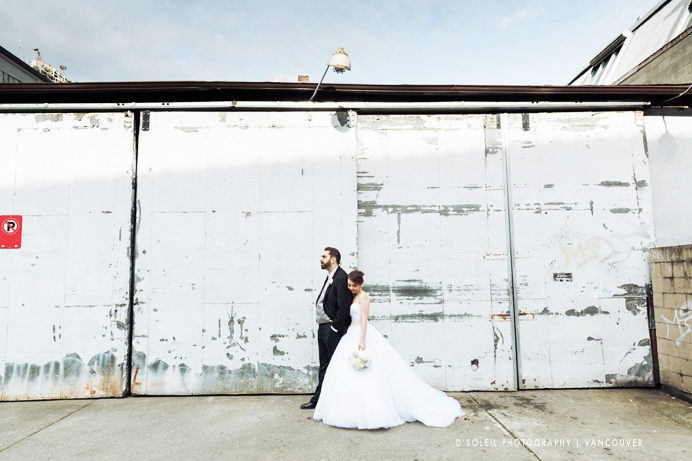 industrial looking wedding photo at granville island
