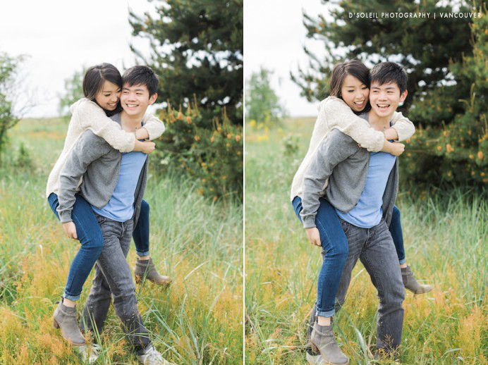 piggy back through grass engagement session