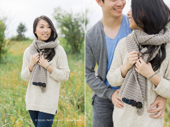 wearing a scarf at engagement session
