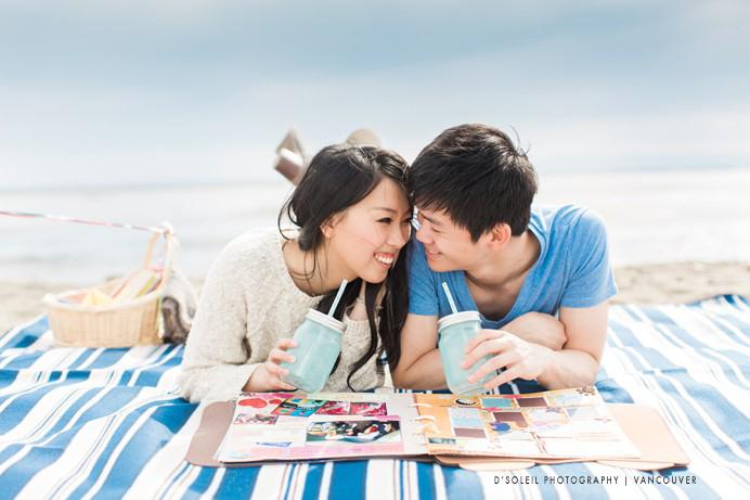 beach picnic engagement photo