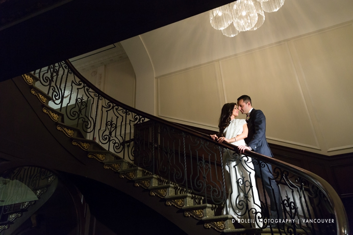 Hotel georgia staircase wedding photo