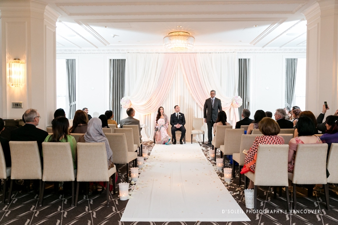 Wedding ceremony in Ballroom Promenade at Rosewood Hotel Georgia