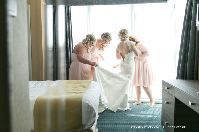 Bride getting ready at Executive Plaza Hotel & Conference Centre in Coquitlam