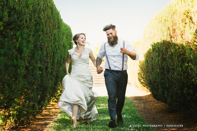 Burnaby mountain wedding bride and groom