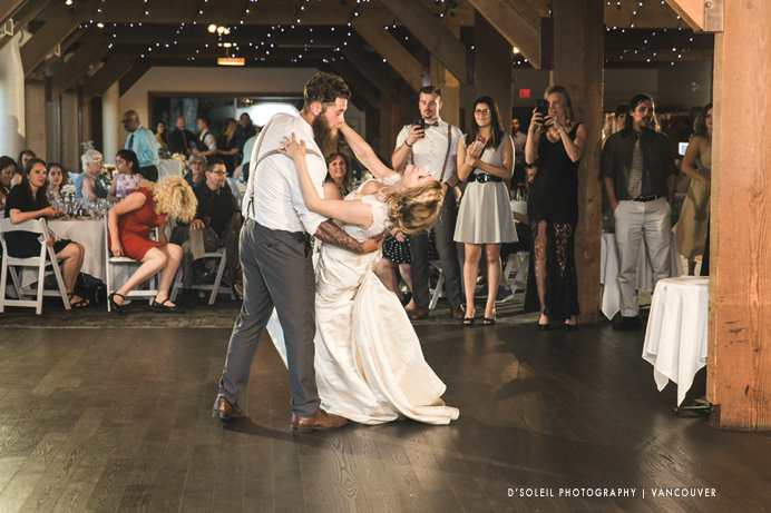 First dance at Burnaby Mountain wedding reception