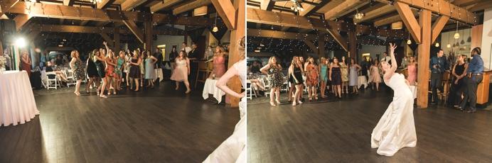 Bouquet toss at Burnaby Mountain wedding Diamond Alumni Centre