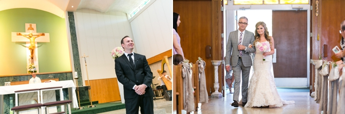 groom waits for bride at ceremony