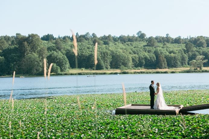 Bride and groom at Deer Lake Park