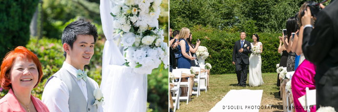 Wedding ceremony outdoors at Cecil Green