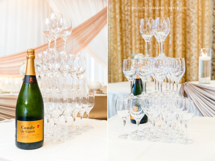 Champagne tower for wedding reception