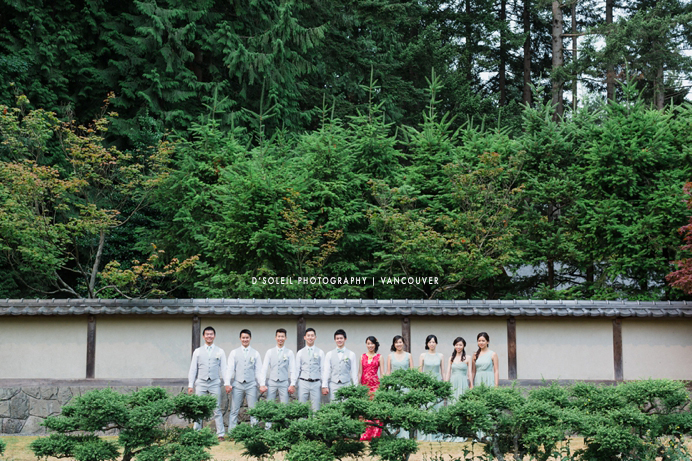 wedding party at Nitobe Gardens