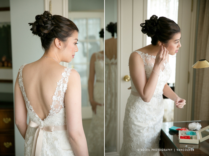 bride getting ready at Four Seasons Hotel Vancouver