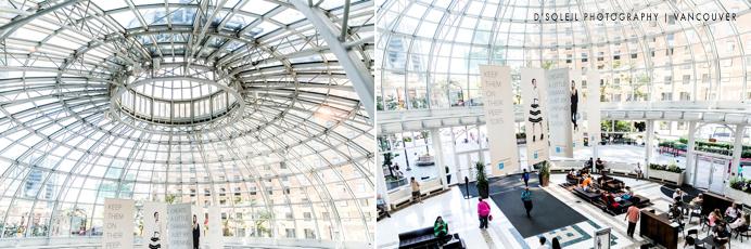 Pacific Centre glass dome atrium ceiling