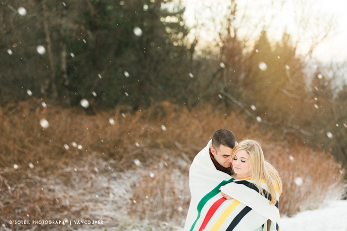 Hudson's Bay multi stripe point blanket used at engagement session
