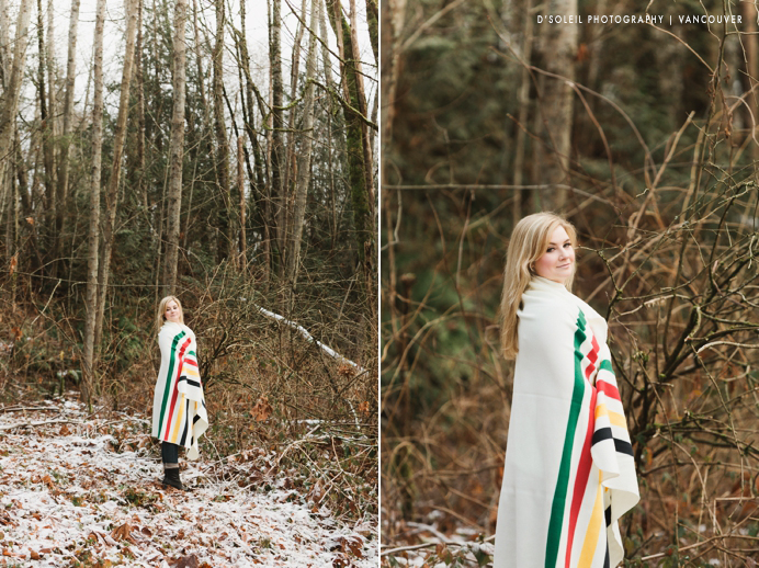 girl with Hudson's Bay blanket at snow engagement session