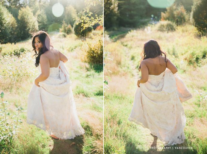 Bride at park in Surrey for wedding photos