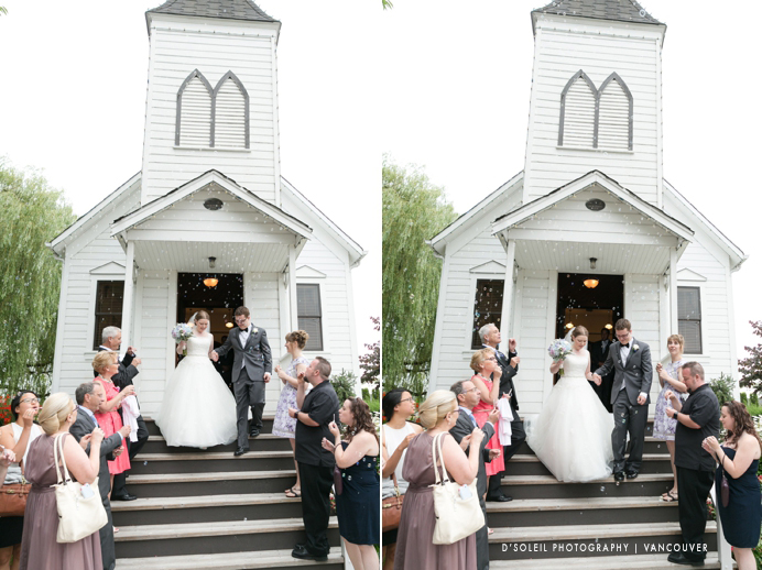 Wedding recessional at Milner Chapel