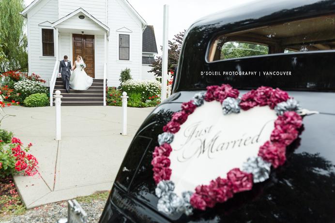 Milner Chapel wedding bride and groom walking to car