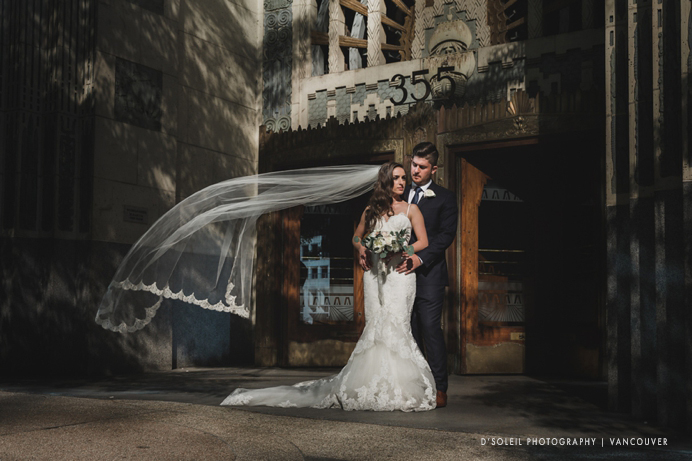 Terminal City Club wedding photo shot in front of Marine Building