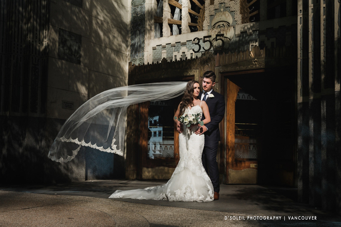Bride and groom at Marine Building