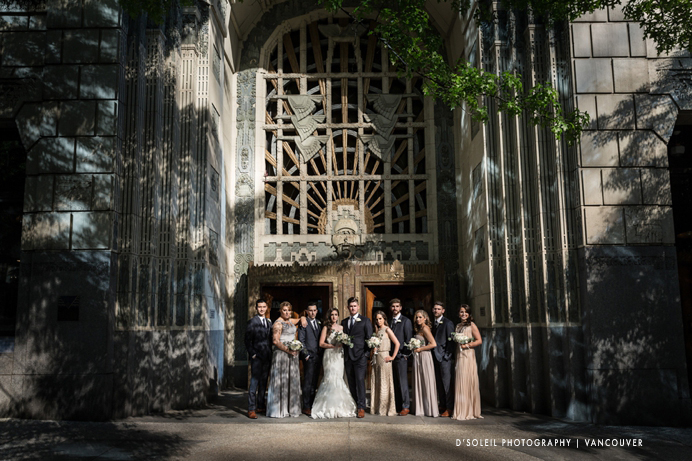 Wedding party in front of the Marine Building Vancouver