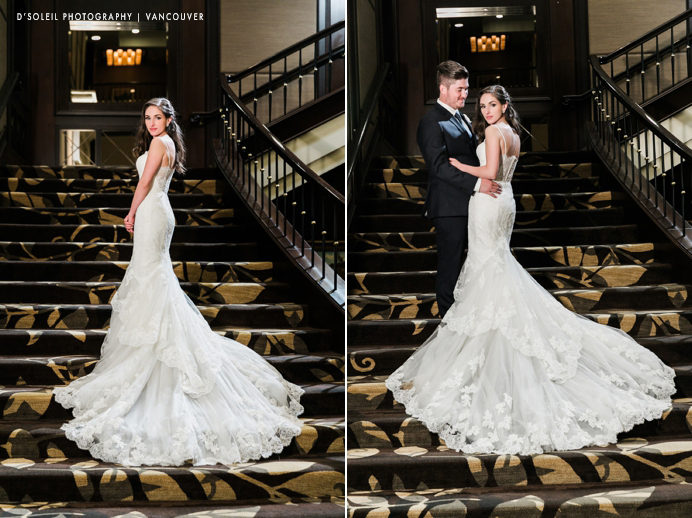 Terminal City Club staircase bride and groom photos