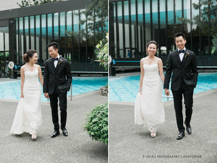 Bride and groom at Four Season pool deck