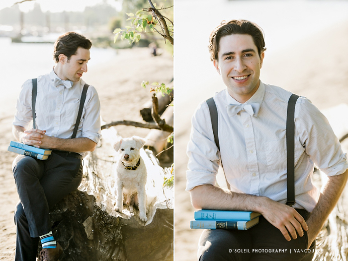 Dog with groom at engagement session