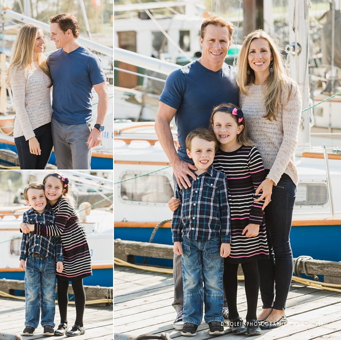 Family photos around boats shipyard