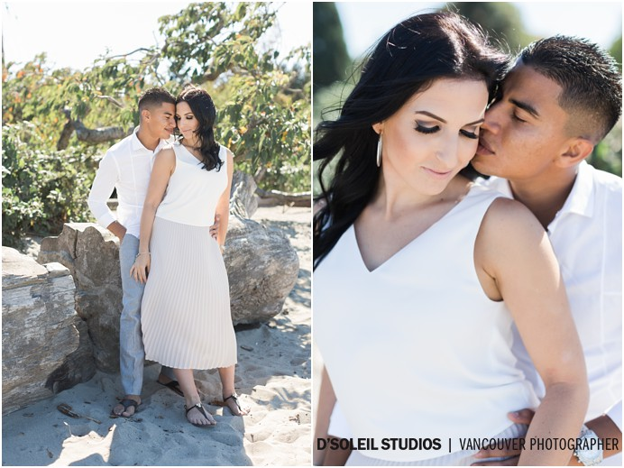 Couple at beach engagement session