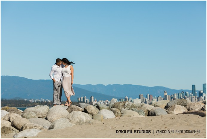 Shot of Vancouver skyline from the beach