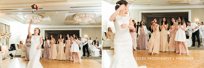 Sutton Place wedding bouquet toss