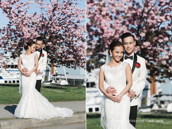 Vancouver cherry blossoms at Stanley Park wedding