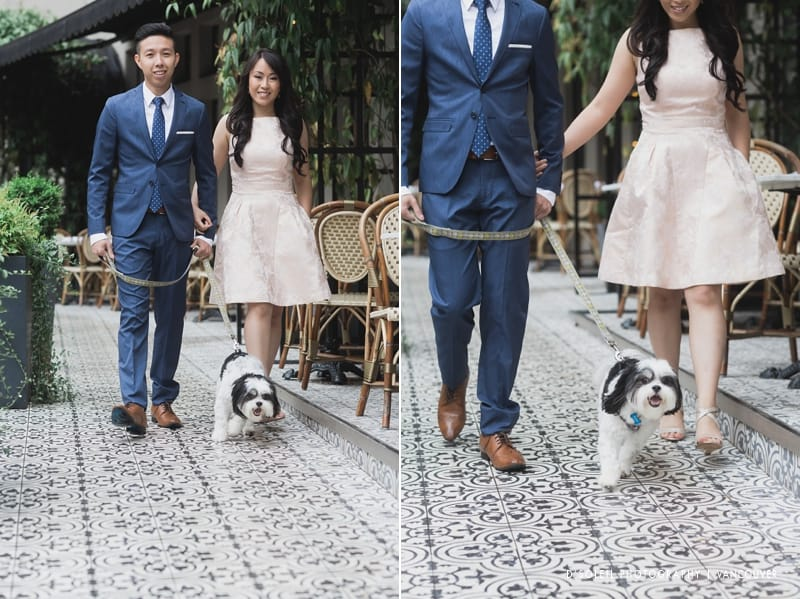 dog at engagement session downtown Vancouver