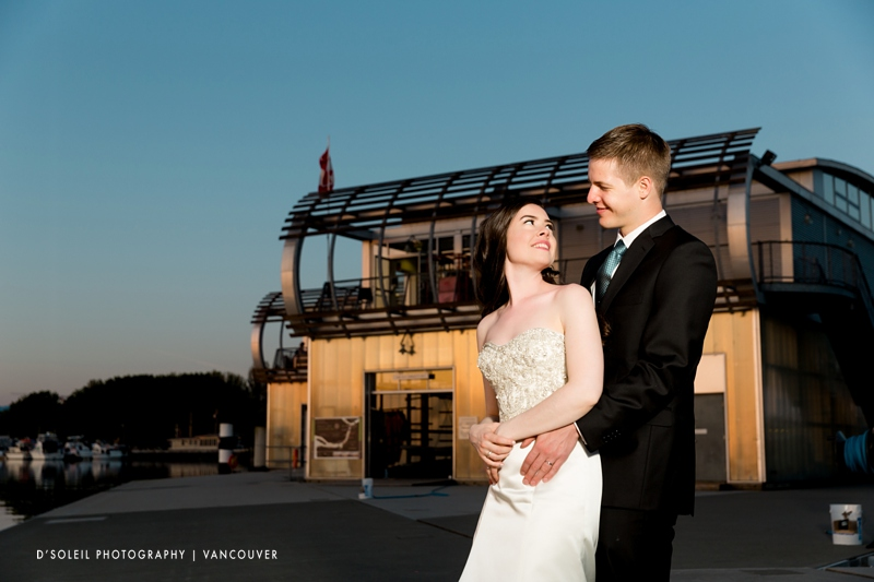 Night photo of wedding at UBC Boathouse