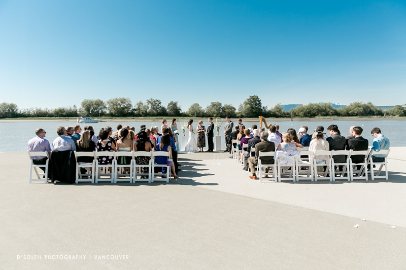 UBC Boathouse wedding ceremony on deck